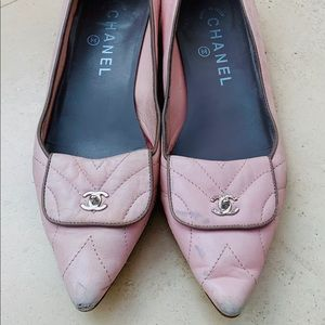 Chanel quilted flats, light pink